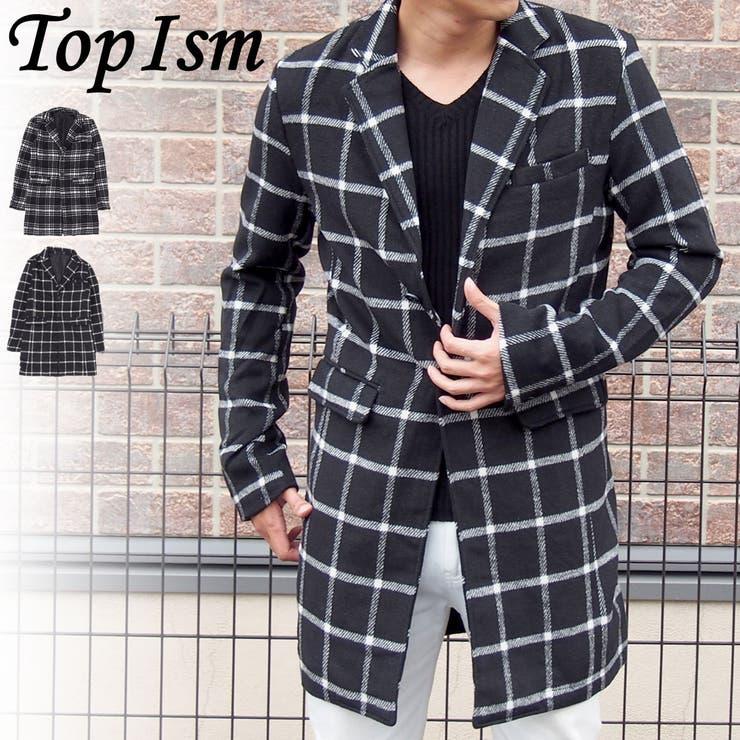 チェスターコート メンズ ロングコート ジャケット タータンチェック ウィンドウペンチェック ブラック BLACK コート アウターメンズファッション 通販 新作