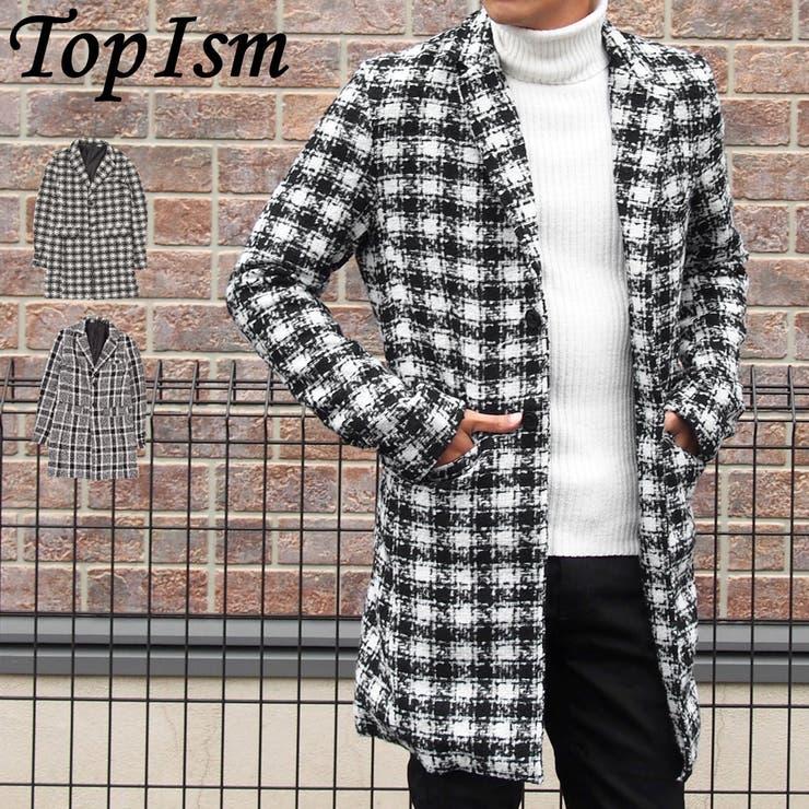 チェスターコート メンズ ニット ロングコート ジャケット タータンチェック コート アウター メンズファッション 通販 新作