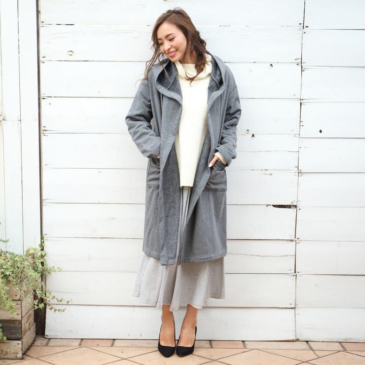 フードコーディガン eversince/冬/春/新作/トップス/コーディガン/アウター/ライトアウター