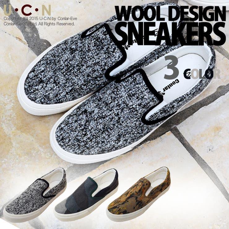 ウール デザイン スリッポン キャンバス スニーカー   | UCN | 詳細画像1