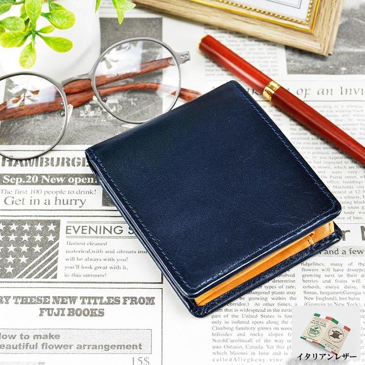 イタリアンレザー 二つ折れ財布 中マチ付き   unofuku   詳細画像1