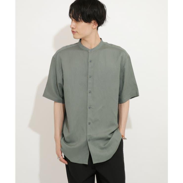 リネンレーヨン バンドカラーシャツ B   SENSE OF PLACE   詳細画像1