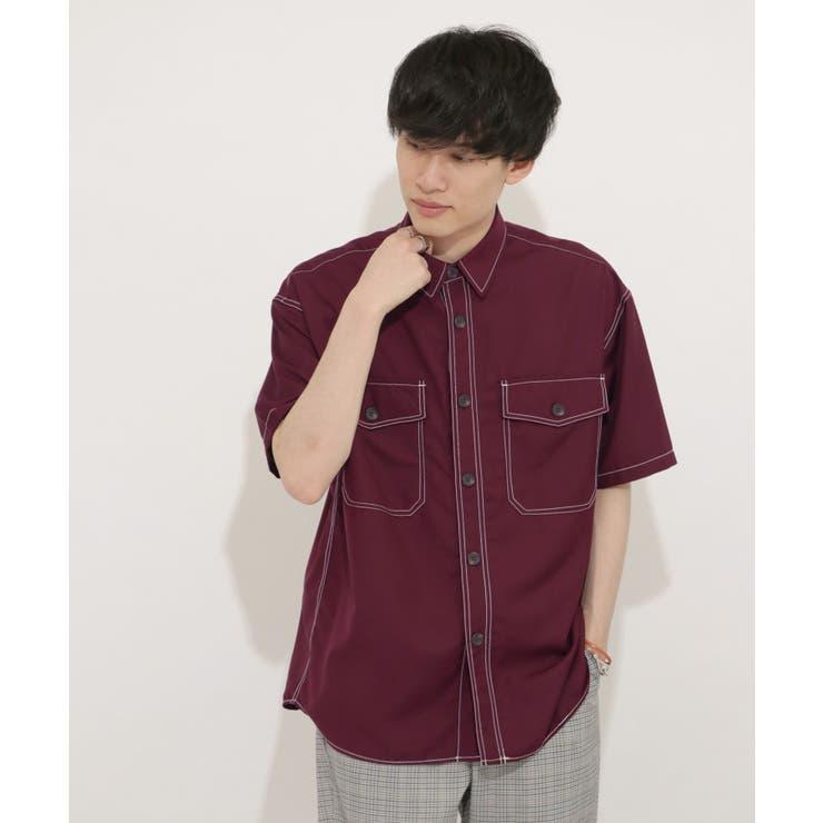 ステッチアウトCPOシャツ(5分袖)   SENSE OF PLACE   詳細画像1