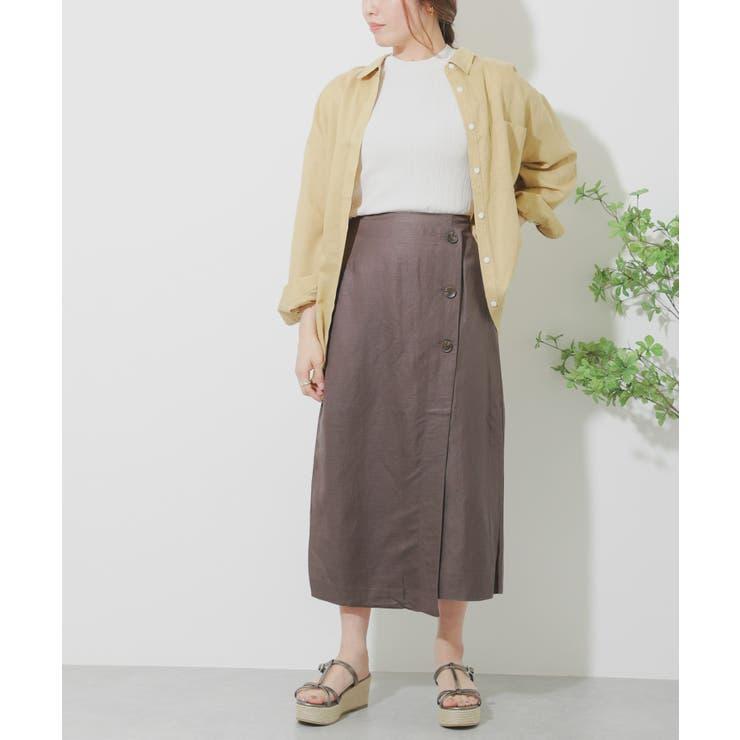 リネンレーヨン ラップスカート   SENSE OF PLACE    詳細画像1