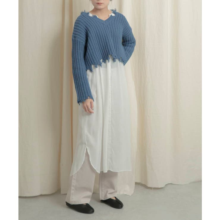 【WEB/一部店舗限定】2WAYダメージショートセーター | SENSE OF PLACE  | 詳細画像1