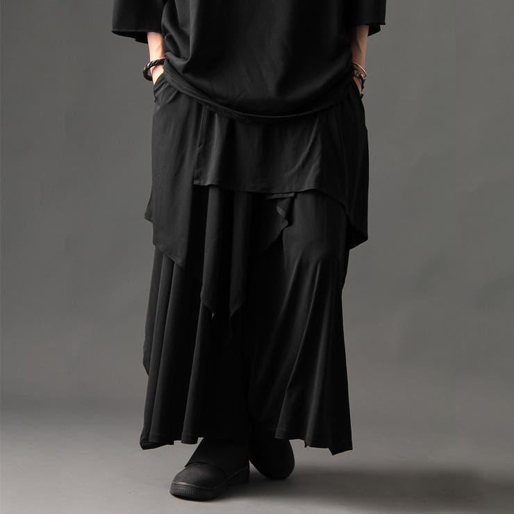 [Valletta]日本製 ストレッチ入りレイヤードデザインワイドスカート[a-726028]ガウチョパンツ パンツ ワイドパンツスカンツ ガウチョ パンツ ワイド ビッグ サルエルパンツ 国産 黒 ブラック ストリートモード メンズ カジュアル   詳細画像