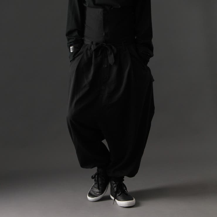 [Valletta]日本製 ストレッチ入りハイウエストサルエルワイドパンツ[a-726030]ガウチョパンツ パンツ ワイドパンツスカンツ ガウチョ パンツ ワイド ビッグ サルエルパンツ 国産 黒 ブラック ストリートモード メンズ カジュアル   詳細画像