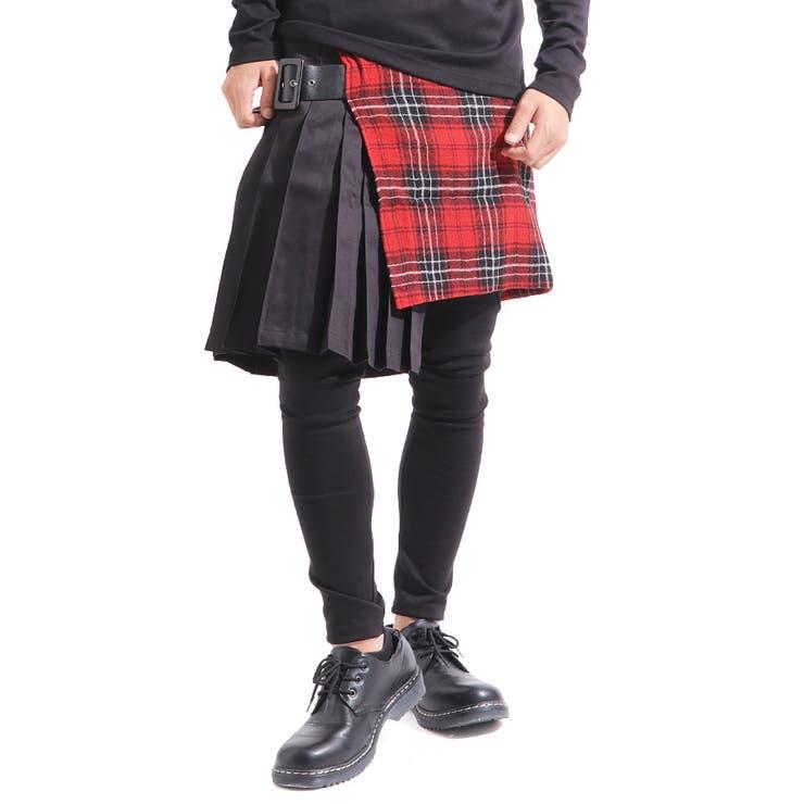 ≪≫【ASSUPERSONIC】日本製チェック総柄切替変形プリーツスカート[a-726048]スカート腰巻き黒赤レッド国産ブラックストリートモードモードヴィジュアル系メンズレディースカジュアル   詳細画像