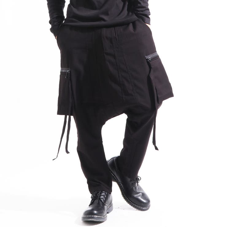 ≪≫【ASSUPERSONIC】日本製ストレッチジップ付きサルエルカーゴパンツ[a-726051]サルエルパンツガウチョパンツストレッチパンツワイドパンツスカンツガウチョパンツワイドビッグサルエルパンツ国産黒ブラックストリートモードメンズ | 詳細画像