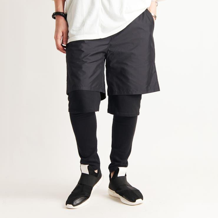 [Valletta]日本製 レギンスレイヤードショートパンツ[a-725013]パンツ レギンス スパッツ パンツ ショーツ スリムスキニー ショートパンツ 国産 黒 ブラック ストリートモード メンズ カジュアル | 詳細画像