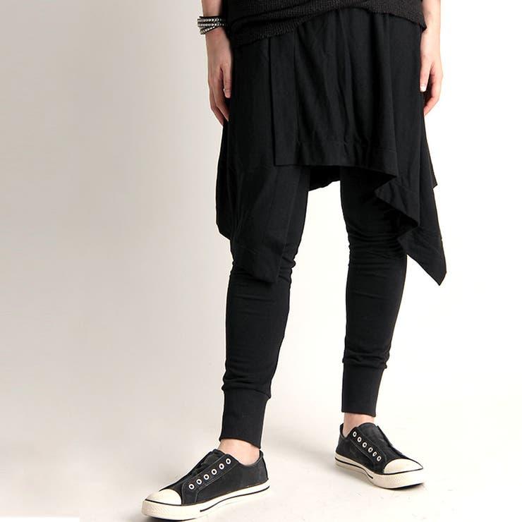[Valletta]日本製 巻きスカートレイヤードジョガーパンツ[a-725014]パンツ レギンス スパッツ パンツ 巻きスカートスリム スキニー サルエルパンツ 国産 黒 ブラック ストリートモード メンズ カジュアル | 詳細画像