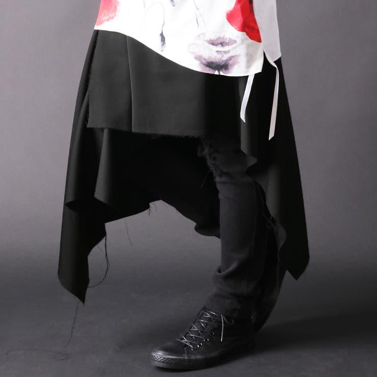 ≪≫【ASSUPERSONIC】日本製無地ブラック巻きスカート[a-726038]ラップスカート巻きスカートスカートワイドビッグスカンツ国産黒ブラックストリートモードメンズカジュアルモードヴィジュアル系サルエルパンツ | 詳細画像