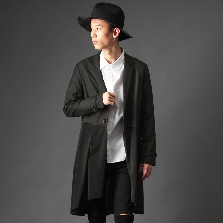 [Valletta]2color 日本製 ドレープ切替ロングコート[a-526007]無地 日本製 国産 ロング シャツ ドレスシャツ丈長 長袖 ロング丈 黒 ブラック ホワイト 白 メンズ カジュアル ストリートモード ストリート モード | 詳細画像
