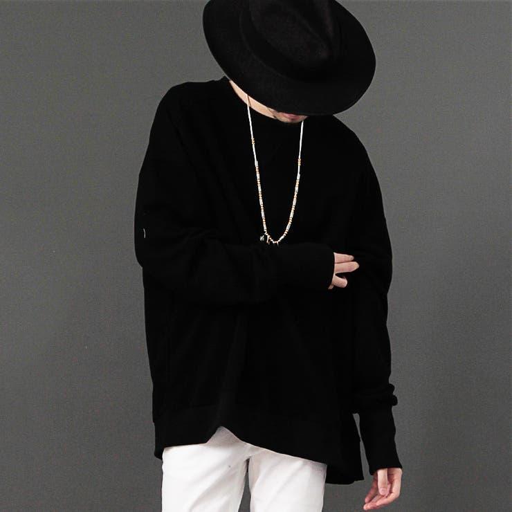 [Valletta]2color 日本製 クルーネックビッグスウェット[a-426008]国産 ロング スウェット ビッグ 長袖スエット ビッグニット ロング丈 黒 ブラック ホワイト 白 メンズ カジュアル ストリートモード | 詳細画像