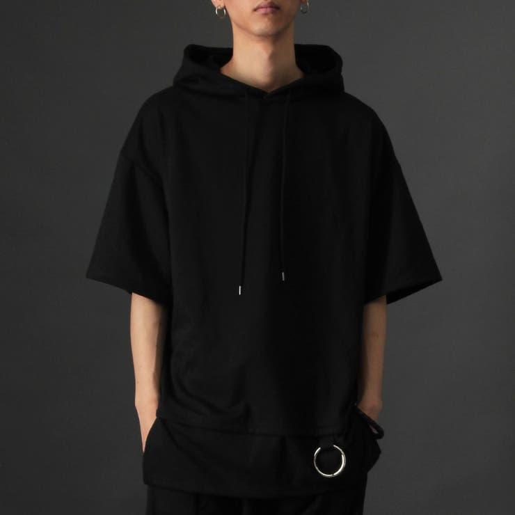 日本製 裾リング使いレイヤード半袖ロングパーカー国産 Tシャツ | Valletta | 詳細画像1