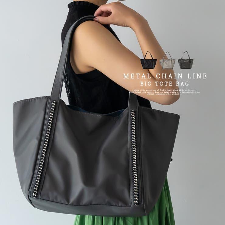 シルバーチェーンデザインナイロンバッグ | Vita Felice | 詳細画像1