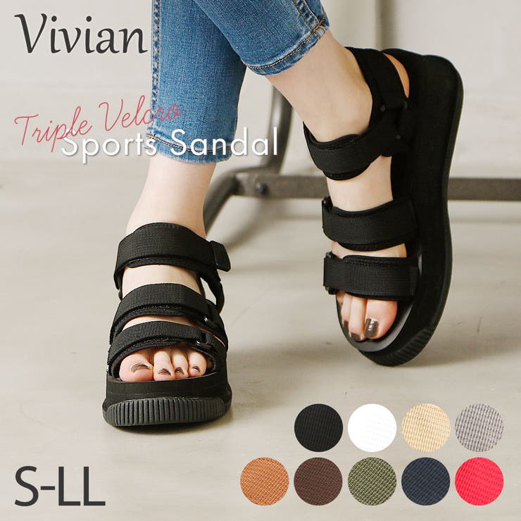 Vivianヴィヴィアンベルクロスポーツ厚底サンダル低反発インソール歩きやすい黒ブラックグレーホワイトネイビーレッドカーキレディース靴他と被らない | 詳細画像