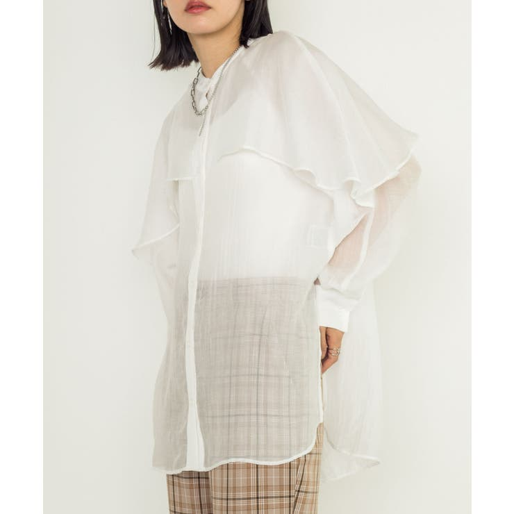 ケープフリル衿シャツブラウス | w closet OUTLET | 詳細画像1