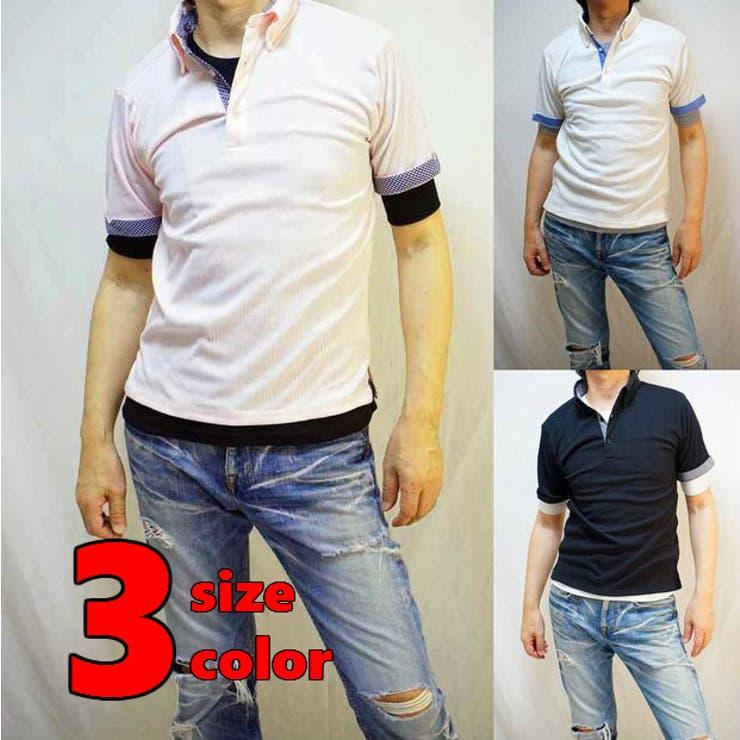 メンズレイヤード半袖ポロシャツ 無地五分袖Tシャツ 重ね着   WEB COMPLETE   詳細画像1
