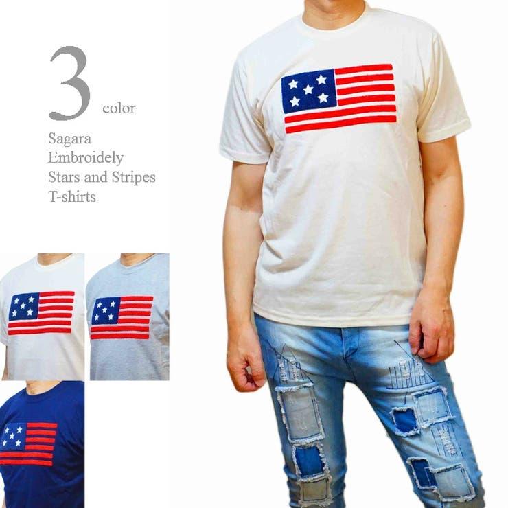 Tシャツ メンズ 半袖 サガラ刺繍 星条旗 クルーネック サーフ 丸首    WEB COMPLETE   詳細画像1