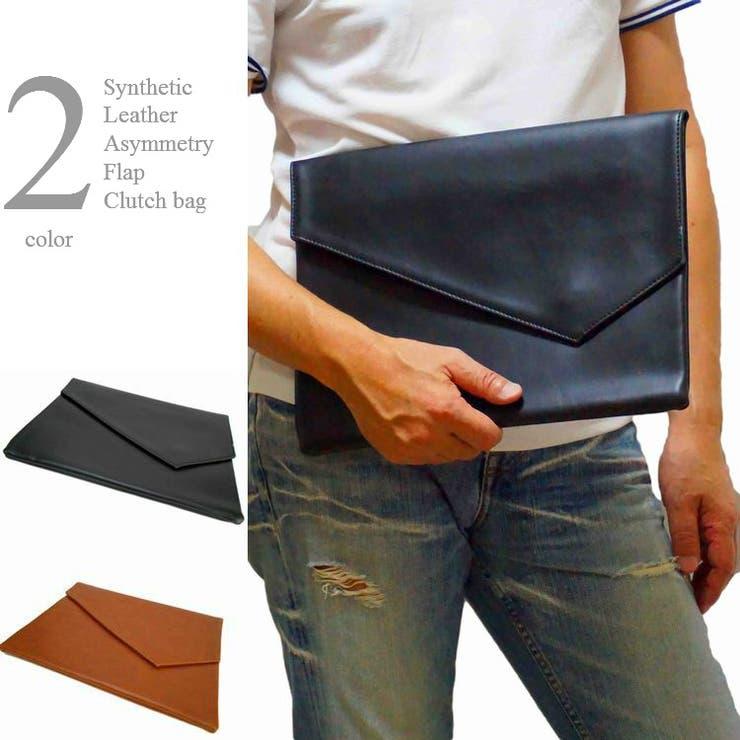 クラッチバッグフェイクレザーアシメトリーフラップセカンドバッグ男女兼用かばん鞄メンズレディス | 詳細画像