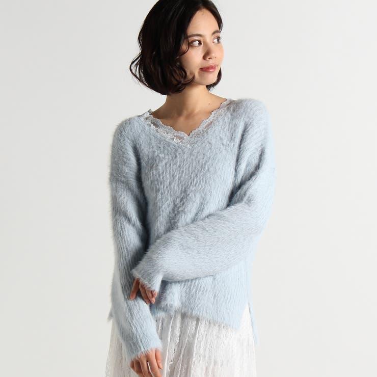シャギーレースVネックセーター