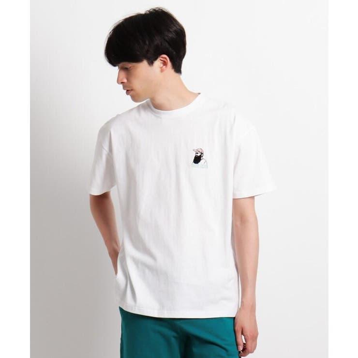 Quash 髭グラフィック ワンポイントサガラ刺繍半袖Tシャツ | BASE STATION | 詳細画像1