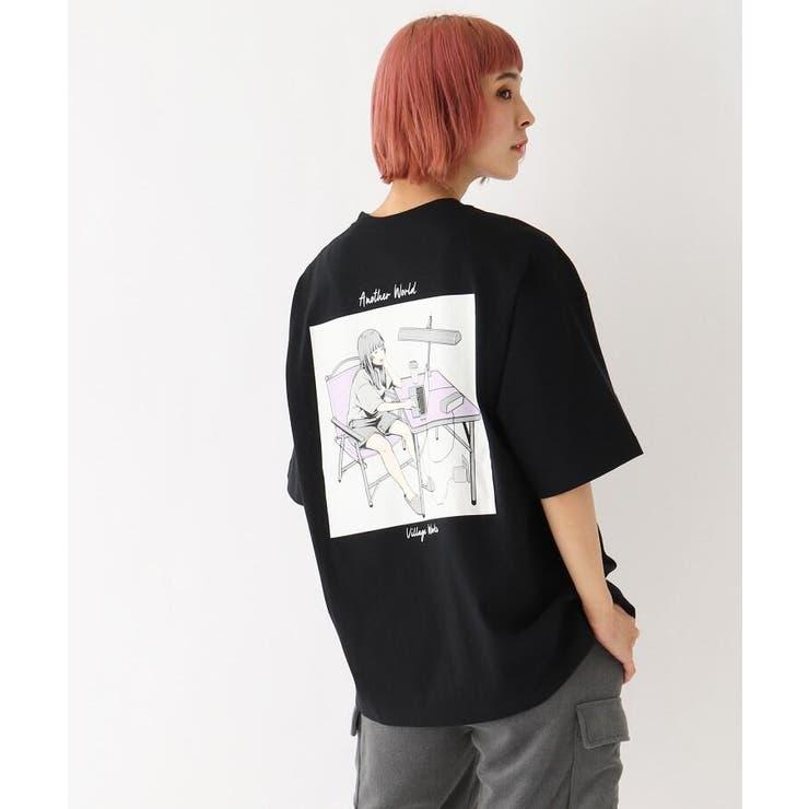 イラストレーター Mar 限定 バックプリント半袖Tシャツ   BASE STATION   詳細画像1