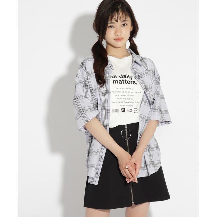 チェック柄シャツ+Tシャツセット   PINK-latte   詳細画像1