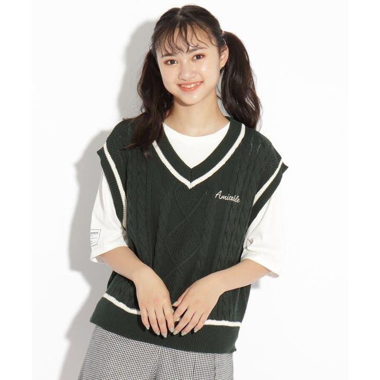 【ニコラ掲載商品】ニットベスト+Tシャツセット | PINK-latte | 詳細画像1