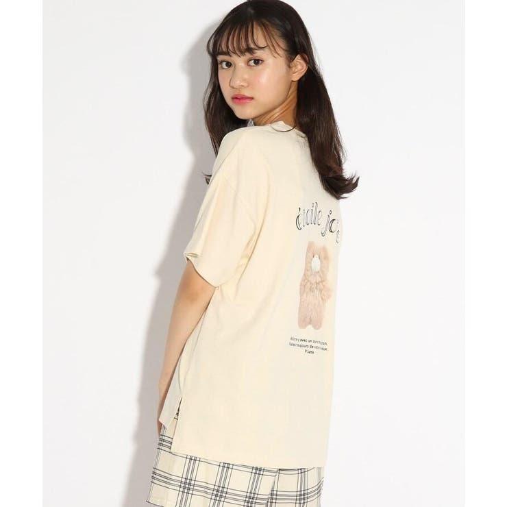 【コットン100%】くま転写Tシャツ | PINK-latte | 詳細画像1