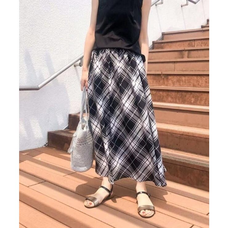 【XS~L/ウエストゴム】ガーゼチェックロングスカート<上品カジュアル> | Dessin | 詳細画像1