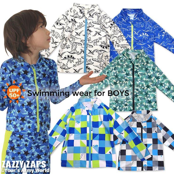 ザジーザップスZazzyZapsスイムウェアラッシュパーカーラッシュガード水着長袖前開き(100/110/120/130cm) | 詳細画像
