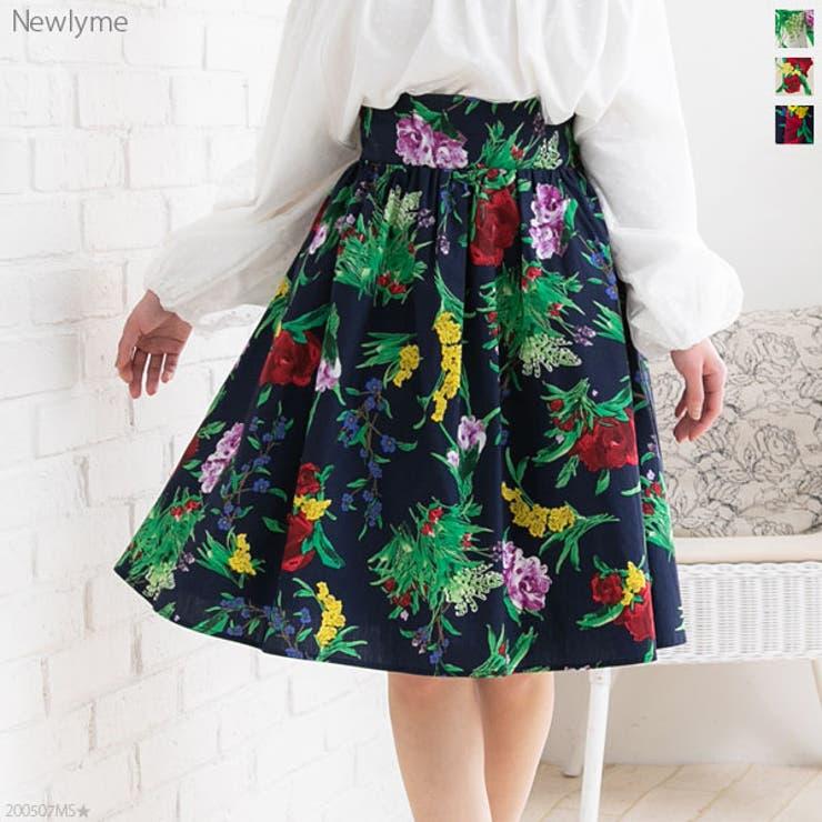 綿ブロードひざ丈花柄フレアスカート   詳細画像