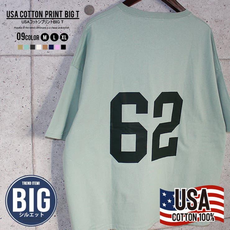 メンズTシャツ半袖ビッグBIGクルーネックプリントロゴ綿コットンUSAコットンカジュアルMLXL「SJ21-107」 | 詳細画像