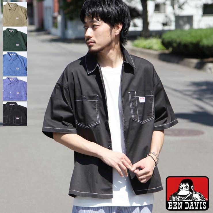 シャツ/メンズ/メンズファッション/ワークシャツ/カジュアルシャツ/ビッグシルエット/半袖/無地/ストライプ/BEN/DAVIS/ベンデイビス【g-0580915】 | 詳細画像