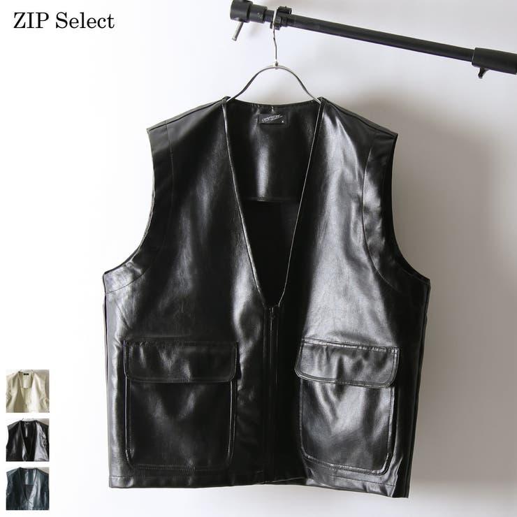 ベスト メンズ レザーベスト   ZIP CLOTHING STORE   詳細画像1