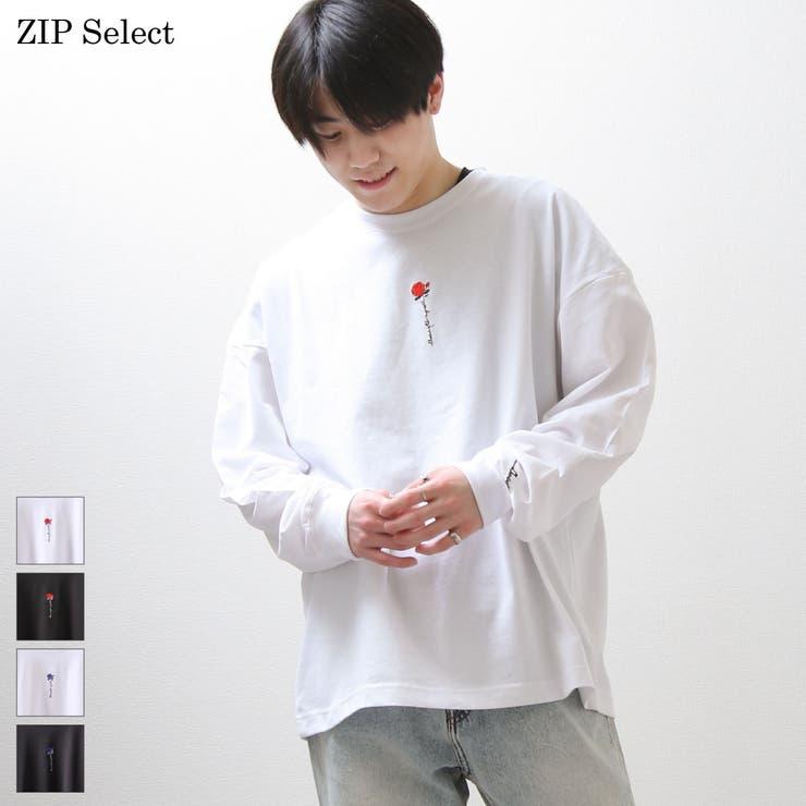 Tシャツ/メンズ/メンズファッション/ロンT/長袖Tシャツ/ロゴ刺繍/薔薇刺繍/ユニセックス【02701501】   詳細画像