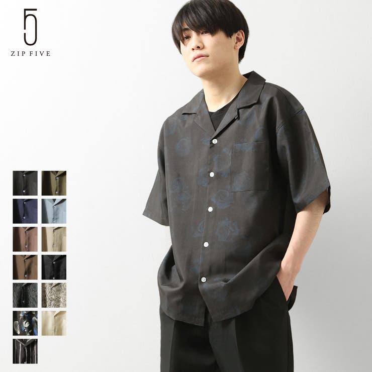 オープンカラーシャツ メンズ 開襟シャツ   ZIP CLOTHING STORE   詳細画像1