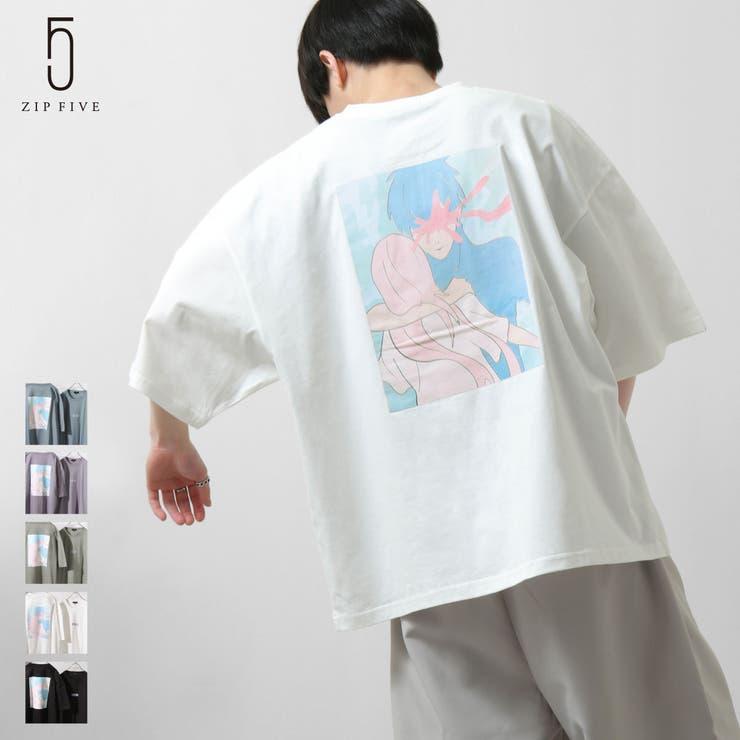 Tシャツ/メンズ/メンズファッション/カットソー/半袖Tシャツ/半袖/ビッグシルエット/バックプリント/グラフィックアート/イラストプリント/オーバーサイズ【21002-11yz】   詳細画像