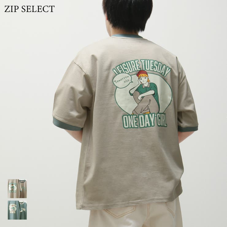 Tシャツ/メンズ/メンズファッション/リンガーTシャツ/カットソー/半袖/半袖Tシャツ/カレッジロゴ/バックプリント/バックイラスト【21514】   詳細画像